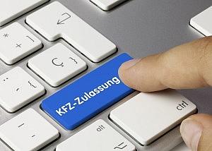 i-Kfz - INternetbasierte Fahrzeugzulassung Tastatur mit der Aufschrift KFZ-Zulassung